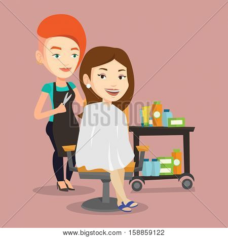 Stylish hairdresser cutting hair of young woman in beauty saloon. Professional hairdresser making haircut to a client with scissors in beauty saloon. Vector flat design illustration. Square layout.