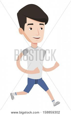 Young caucasian man running. Happy male runner jogging. Full length of a smiling male athlete running. Sportsman in sportswear running. Vector flat design illustration isolated on white background.