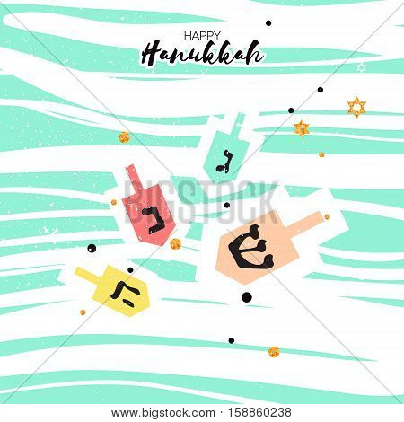 Cute Happy Hanukkah Greeting card. Jewish holiday with traditional dreidels - spinning top. on pink blue background. Vector design illustration