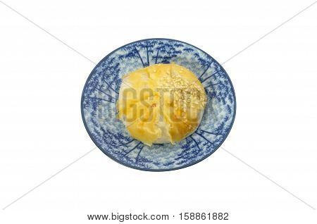Thai snack ,Chinese Pastry-Mung Bean with Egg Yolk on white background