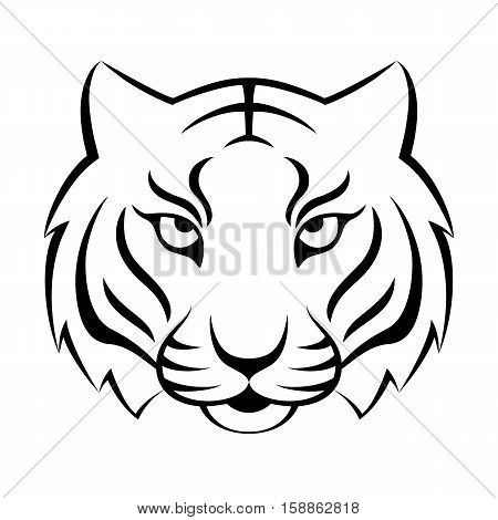 Tiger icon isolated on a white background. Tiger logo template, tatoo design, t-shirt print.