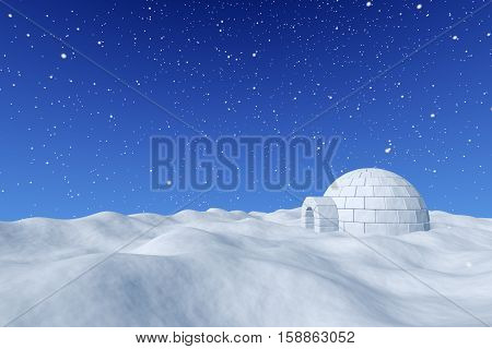 Igloo Ice-house Under Blue Sky With Snowfall