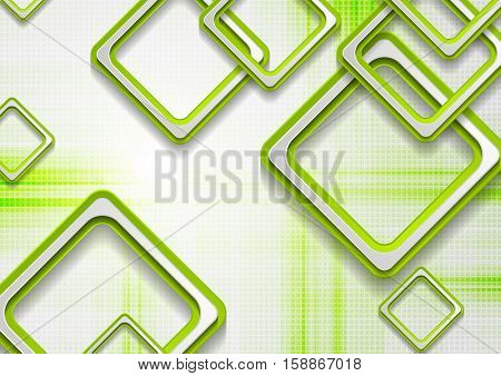 Abstract green squares tech grunge corporate background. Minimal vector graphic geometric design