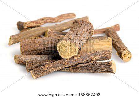 Licorice Or Liquorice Root Sticks Isolated On White Background
