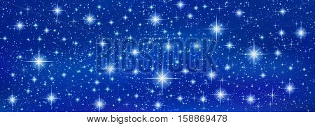 Abstract Blue banner background with sparkling twinkling stars. Cosmic shiny galaxy. Holiday blank backdrop texture of Night Sky for Christmas (Xmas), Happy New Year , glow milky way (fantasy sky)