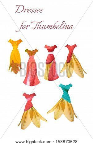 Collection of floral dresses for Thumbelina. Beautiful card with summer female dresses. Fashion design.