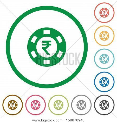 Indian Rupee casino chip flat color icons in round outlines