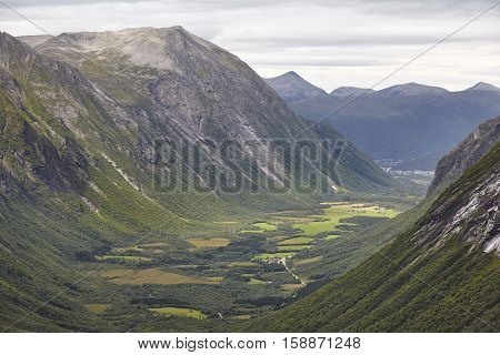 Norwegian landscape with mountains and forest. Reinheimen National Park. Norway