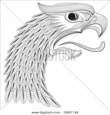 Detailed illustration of an eagle head, easy to change colors.