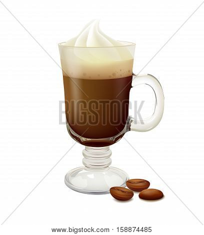 Irish coffee with whipped cream in a glass, coffee beans. Vector illustration on white background.