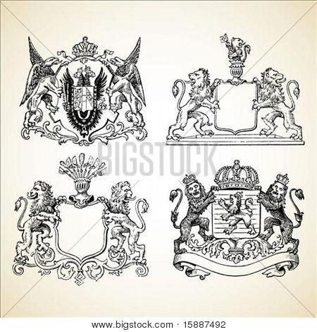 Set of vector medieval crests.