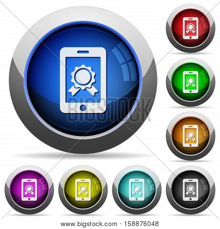 Mobile certification icons in round glossy buttons with steel frames
