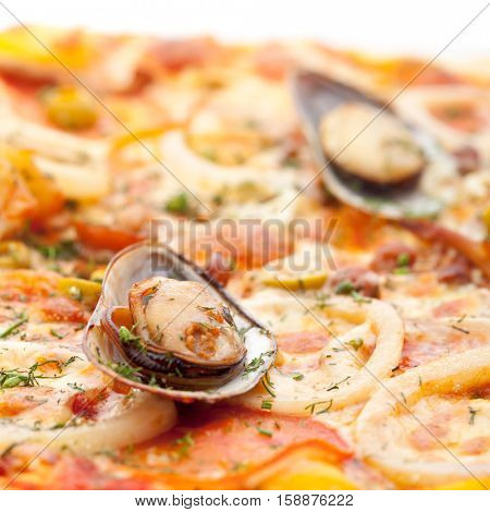 Seafood Pizza with Mozzarella, Various Seafood, Tomato and Shellfish