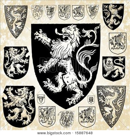 Detailed gothic vector shields. Features lions, dragons, unicorns, and other mythical animals