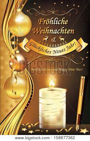 German greeting card 'Merry Christmas and Happy New Year': (Froliche Weihnachten und ein Gluckliches Neues Jahr), for winter holiday. Print colors used. Custom size