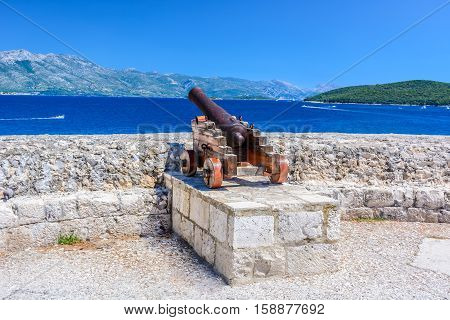 View al landscape in Korcula island from famous viewpoint in city center, Croatia Europe summertime.