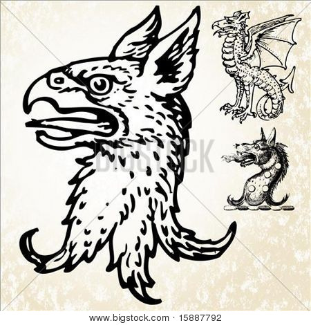 Set of illustrated mythical animals. Easy to edit colors.