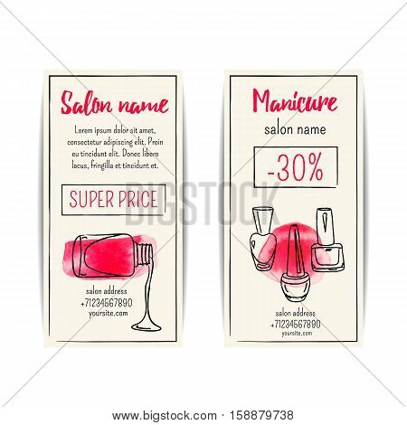 Watercolor nail polish flyer. Vector set of manicure voucher or coupons. Design for beauty salon or nail artist. Isolated collection of fashion templates. Modern sketchy style with aquarel. Hand drawn fashion illustration. EPS10.