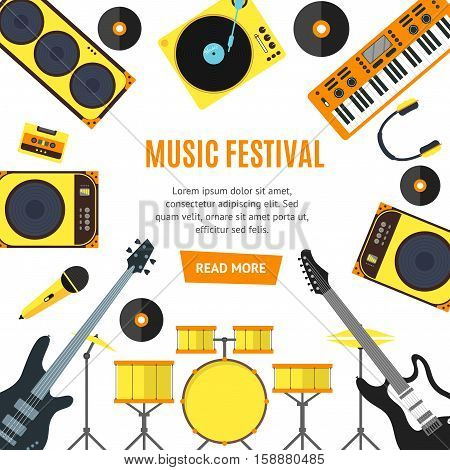 Musical Instruments and Music Tools Banner Flat Design Style. Vector illustration