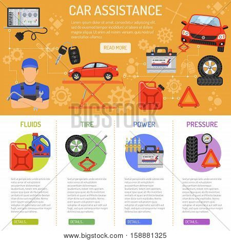 Car Service and assistance Infographics with Flat Icons mechanic, tire, pressure and power. Vector illustration