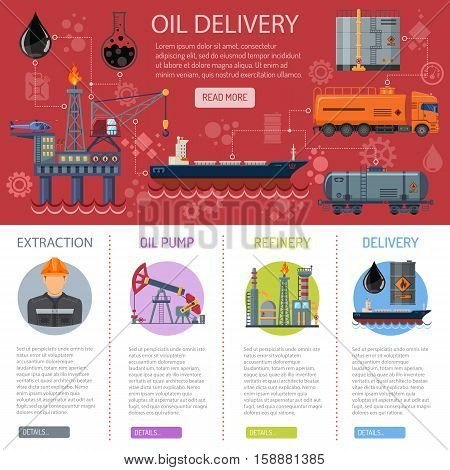 Oil industry Infographics with Flat Icons extraction refinery delivery and transportation oil and petrol with oil pump, oil platform and cargo tank. vector illustration