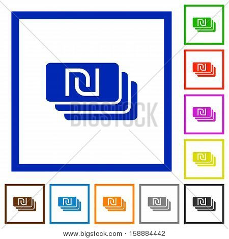 New Shekel banknotes flat color icons in square frames
