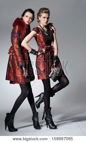full-length high young stylish two model in fashion dress ,purse posing in the studio