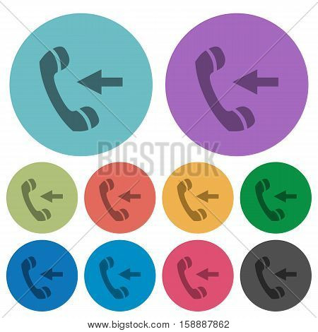 Incoming call flat color icons in round outlines