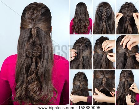 modern hairstyle boho braid with curly loose hair. Hairstyle tutorial for long curly hair. Hairstyle for party tutorial step by step