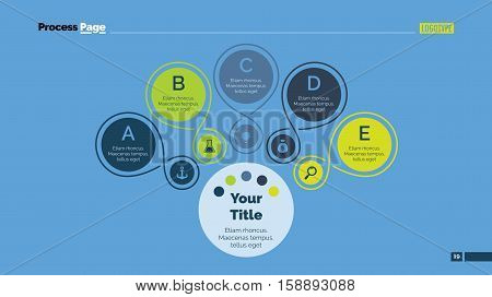 Process mind map slide template. Business data. Chart, graph, diagram. Concept for infographic, business templates, presentation, marketing. Can be used for topics like training, management, planning.