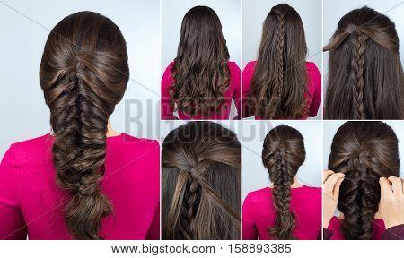 simple hairstyle volume plait on curly hair. Hairstyle tutorial for long curly hair. Hairstyle for party tutorial step by step. Hair tutorial. Mermaid braid
