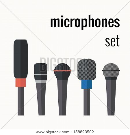 Vector colorful microphones vector icons. Audio technology equipment design elements. Electronic and recorder microphone icons flat. Flat style audio technology equipment microphones illustration.