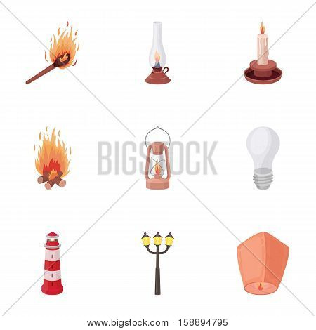 Light source set icons in cartoon style. Big collection of light source vector symbol stock