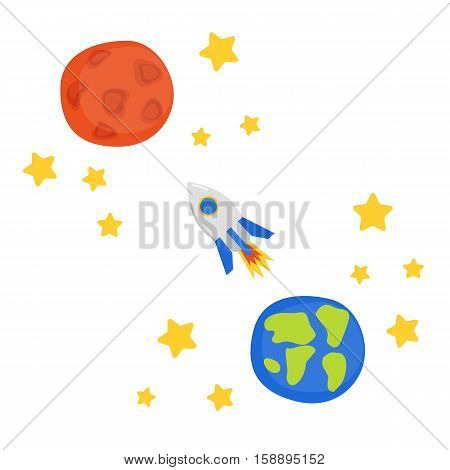 Illustration with flight to Mars concept: cartoon rocket stars planet Earth and planet Mars. Great for children book cartoon cover and children illustrations. Cartoon space future technology concept