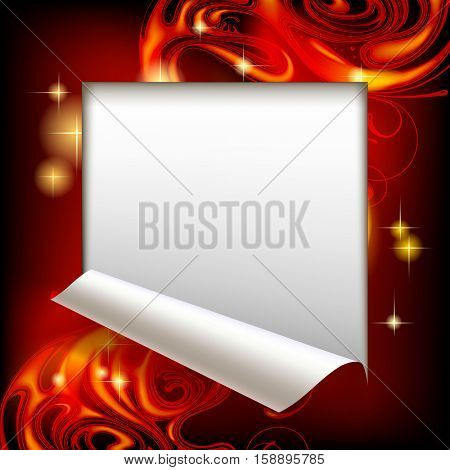 Cut framed paper sheet with red abstract luminous fantasy background. Vector illustration.