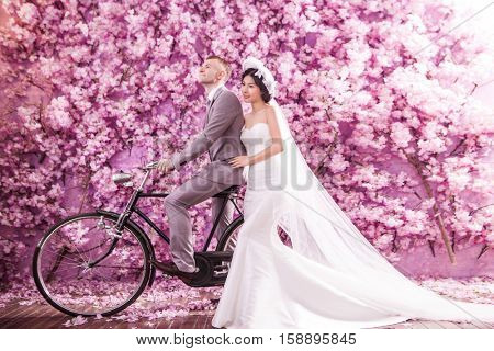 Thoughtful bride standing with bridegroom riding bicycle against pink flowers covering wall