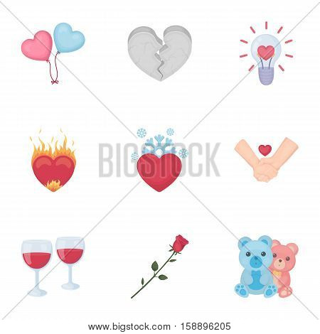 Romantic set icons in cartoon style. Big collection of romantic vector symbol stock