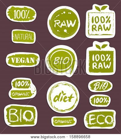 Organic food hand drawn labels set vector illustration. Vegetarian, gmo free, fresh and natural, vegan, raw food, healthy diet, lifestyle, farm market, organic products, bio and eco nutrition concept