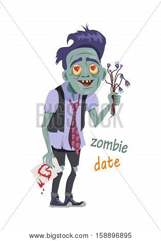 Zombie date. Character isolated. Being with flowers, greeting card. Creature fall in love, hearts in eyes. Horror fantasy, Valentines day concept. Halloween science fiction man in flat style. Vector