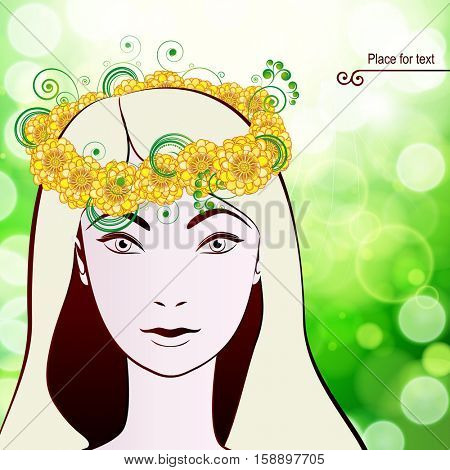 Beautiful woman's face in a wreath of flowers. Vector illustration.