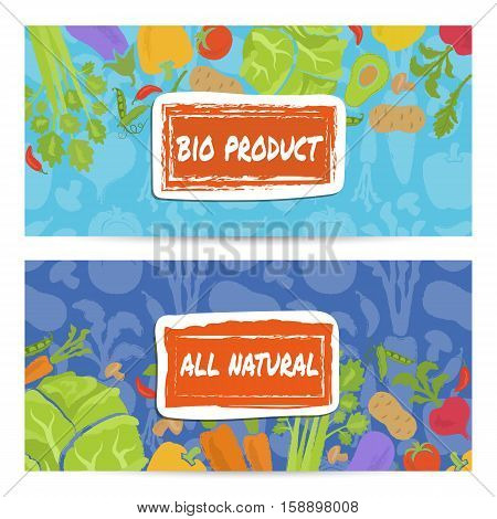 Bio product horizontal flyers set vector illustration. Natural vegetables, vegetarian organic farming, traditional food, locally grown, healthy diet, gmo free, farm market, bio and eco nutrition