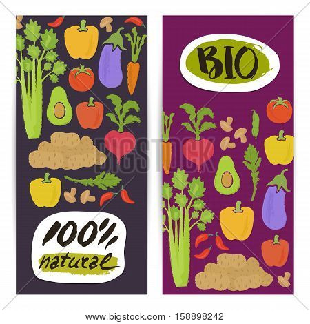 Natural vegetable vertical flyers set vector illustration. Colorful vegetables background. Natural cabbage, tomato, radish, mushroom, peppers, potatoes, carrots. Vegetarian food, healthy lifestyle.