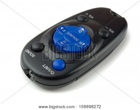 Mini car audio remote control isolated on white