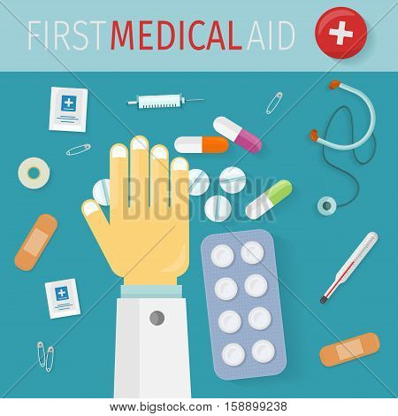 First medical aid banner. Thermometer pills drugs stethoscope plaster safety pins syringe and doctor hand. Equipment, medicine and hospital, healthcare and pharmacy, emergency and care. Vector