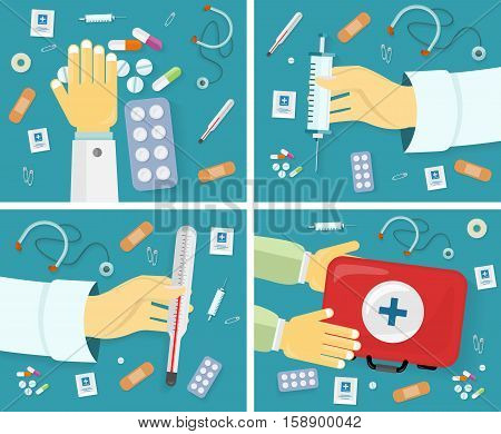 First medical aid banners set. Kit thermometer pills drugs stethoscope plaster safety pins syringe. Equipment, medicine and hospital, healthcare and pharmacy, emergency and care. Vector illustration