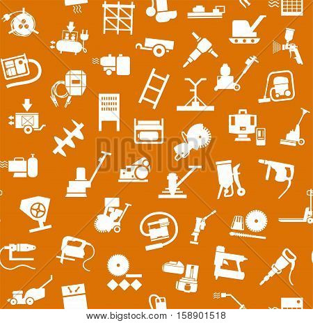 Construction equipment and tools, seamless pattern, orange. Vector background with images of equipment for construction and repair. White, flat pictures on the orange box.