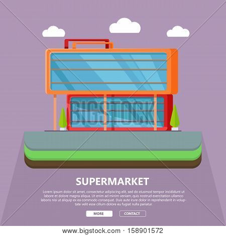 Supermarket web page template. Flat design. Commercial building concept illustration for web design, banners. Shop, shopping center, mall, supermarket, business center on purple background.