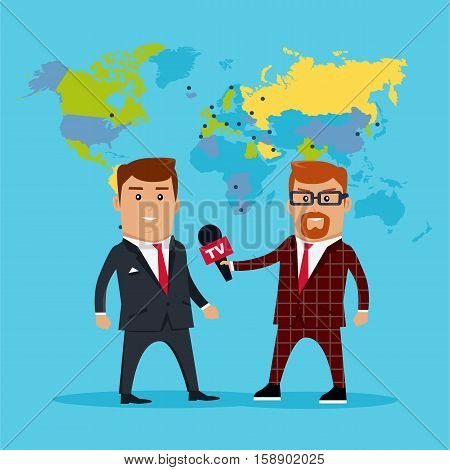 Interview on the background of the world map. Breaking news concept vector illustration in flat style design. TV reporter with microphone in hand is to interview experts, politicians, businessmen.