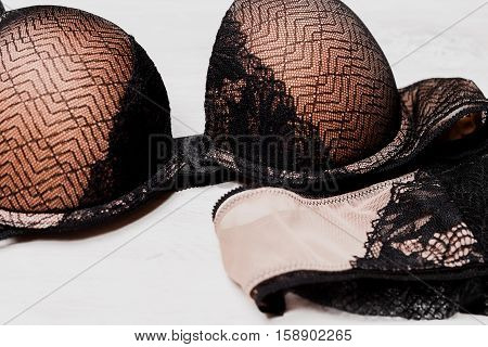 lacy lingerie womens underwear on white background closeup