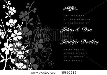 Vector ornate floral background with sample text. Perfect as invitation or announcement. All pieces are separate. Easy to change colors and edit.